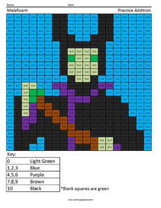 Maleficent- Practice Addition Disney coloring math worksheets