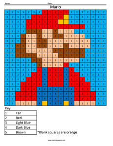 Retro Mario- Color by Number Nintendo 3ds coloring page