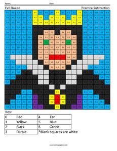Evil Queen- Practice Subtraction Disney coloring math worksheets