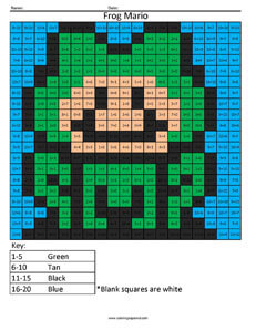 Frog Mario- Practice Addition Nintendo 3ds coloring page