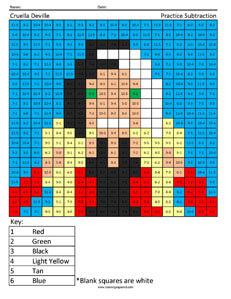 Cruella Deville- Practice Subtraction Disney coloring math facts