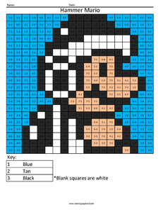 Hammer Mario- Practice Subtraction coloring page