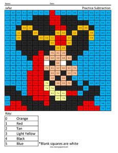 Jafar- Practice Subtraction Disney coloring math worksheets