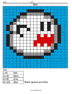 Boo- Practice Multiplication Super Mario math worksheets