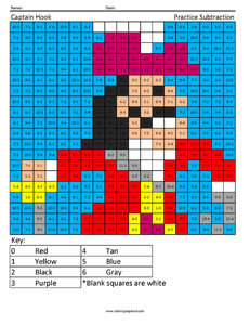 Captain Hook- Practice Subtraction Disney coloring math worksheets