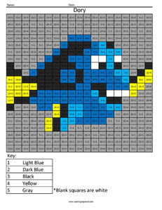 Dory- Practice Division Disney coloring math facts