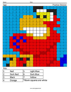 Iago- Practice Division Disney coloring math facts