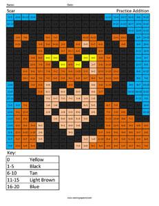 Scar- Practice Addition Disney coloring math worksheets