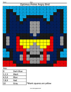 angry birds addition and subtraction coloring squared. Black Bedroom Furniture Sets. Home Design Ideas