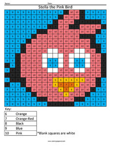 Stella the Pink Bird- Color by Number