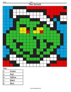 Grinch- Holiday Division Christmas math coloring