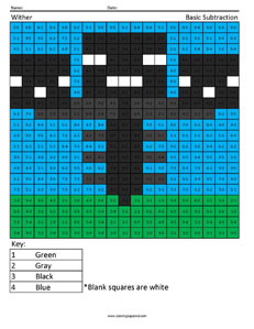 Wither- Basic Subtraction Minecraft coloring page