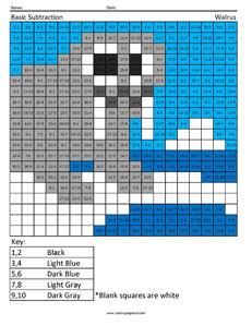 Practice Subtraction- Walrus first grade math