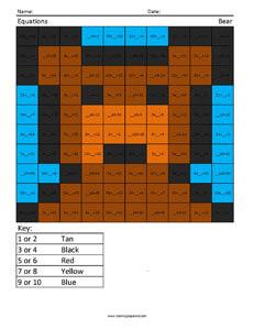 Equations-  Bear 3rd Grade Math Concepts