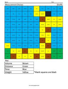 Measurement Choices- Giraffe 3rd Grade Math Concepts