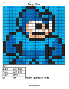 Mega Man- Practice Addition coloring activity