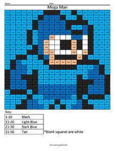 Mega Man- Practice Multiplication coloring activity
