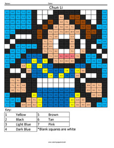 Chun Li- Practice Subtraction coloring activity