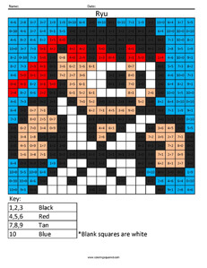 Ryu- Practice Addition coloring activity Street Fighter