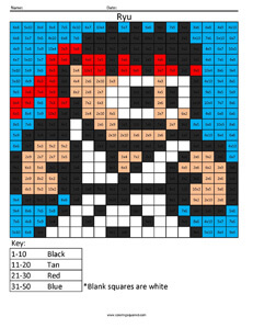 Ryu- Practice Multiplication coloring activity Street Fighter