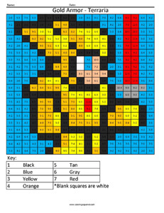 Terraria Gold Armor- Practice Subtraction coloring activity