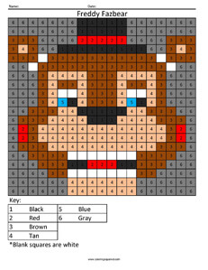 Freddy Fazbear- Color by Number coloring activity Five Night's at Freddys