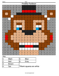 Freddy Fazbear- Practice Subtraction coloring activity Five Night's at Freddys