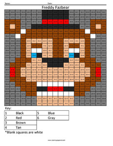 Freddy Fazbear- Practice Division coloring activity Five Night's at Freddys