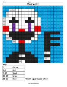 Marionette- Practice Addition coloring activity Five Night's at Freddys