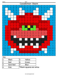 Doom- Practice Subtraction coloring activity