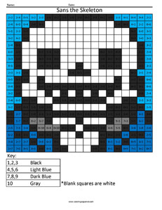 Sans the Skeleton- Undertale Addition coloring activity