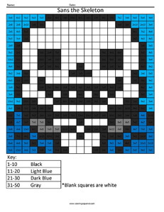 Sans the Skeleton- Undertale Division coloring activity