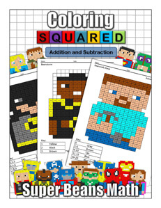 Coloring Squared Super Beans: Addition and Subtraction
