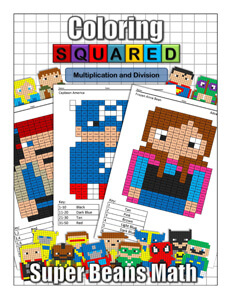 Coloring Squared Super Beans: Multiplication and Division