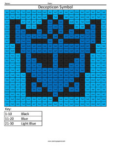 Decepticon Symbol Multiplication and Division Math Coloring Worksheets Transformers