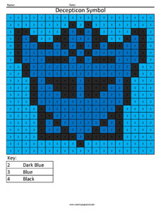 Decepticon Symbol- Color by Number Transformer coloring activity