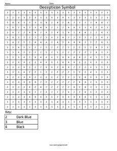 Decepticon Symbol- Color by Number Worksheet Transformers