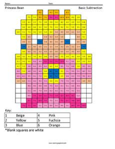Princess Bean- Subtraction Practice