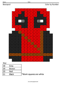 Beanpool- Color by Number coloring page Deadpool
