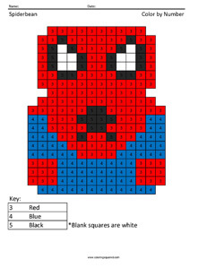Spiderbean- Color by Number coloring page Spiderman
