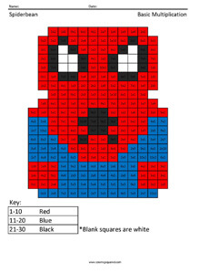 Spiderbean- Basic Multiplication coloring page