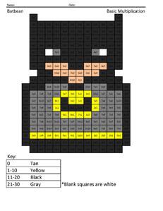 Batbean- Basic Multiplication Coloring Page