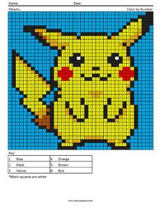 Pikachu- megapixel coloring pages