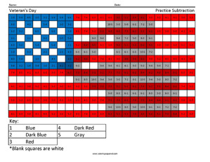 Veteran's Day- Holiday Subtraction Sheets
