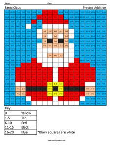 Santa Claus- Holiday Addition Coloring Sheets
