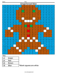 Gingerbread Man- Holiday Math coloring page