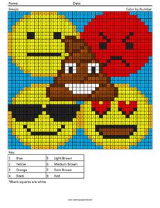 Emojis- megapixel coloring pages