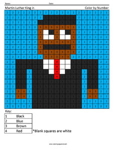 Martin Luther King Jr.- Holiday Color by Number Coloring Pages