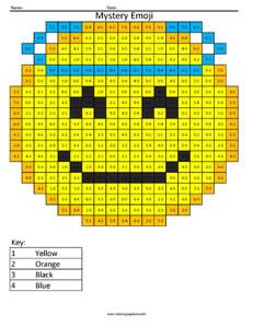 Angel Emoji- Subtraction Coloring coloring activity