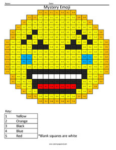 Emoji Addition and Subtraction - Coloring Squared